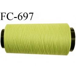 Cone de 2000 m fil polyester n° 120 couleur primevère longueur de 2000 mètres bobiné en France