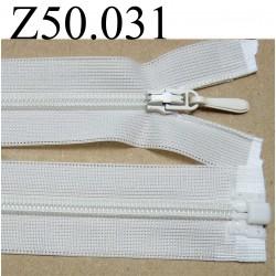 fermeture éclair longueur 50 cm invisible couleur blanc cassé crème  séparable zip nylon largeur 2.5 cm