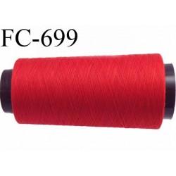 Cone de 2000 m fil polyester fil n° 100 couleur rouge longueur de 2000 mètres bobiné en France