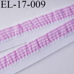 Elastique froufrou picot largeur 17 mm largeur de bande 6 mm + fronce 11 mm couleur blanc et rose prix au mètre