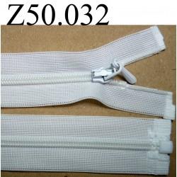 fermeture éclair longueur 50 cm invisible couleur blanc   séparable zip nylon largeur 2.5 cm