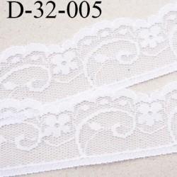 Dentelle 32 mm synthétique couleur blanc motif fleur