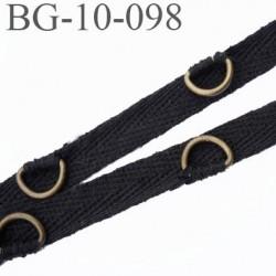 biais sergé galon ruban couleur noir largeur 10 mm avec étrier laiton vieilli vendu au mètre
