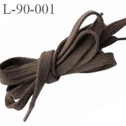 Lacet 90 cm la paire plat  longueur 90 cm couleur marron taupe largeur 10 mm prix pour une paire