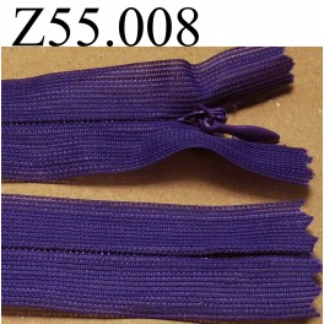 fermeture éclair longueur 55 cm invisible couleur violet non séparable zip nylon largeur 2.4 cm