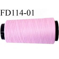 2000 m Destockage Cone de fil mousse  polyester  fil n° 165 couleur rose longueur 2000 mètres bobiné en France