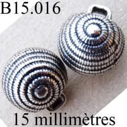 bouton 15 mm couleur argent avec incrustation noir accroche avec un anneau  diamètre 15 millimètres