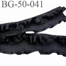 biais galon ruban couleur noir largeur 50 mm partie satin 20 mm effet froufrou