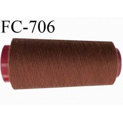 Cone de 5000 m fil polyester n° 120 couleur marron chocolat longueur de 5000 mètres bobiné en France