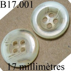bouton 17 mm couleur blanc et transparent brillant diamètre 17 mm