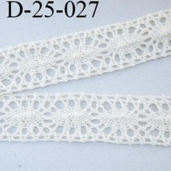 dentelle crochet ancienne 100% coton largeur 25 mm couleur écru provient d'une vieille mercerie parisienne prix au mètre