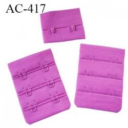 Agrafe attache 40 mm de soutien gorge 3 rangés 2 crochets largeur 40 mm hauteur 55 mm couleur fushia