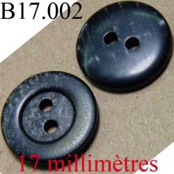 bouton 17 mm couleur noir et gris brillant diamètre 17 mm