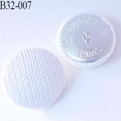 bouton métal tissu 32 mm couleur blanc superbe accroche avec un anneau diamètre 32 mm