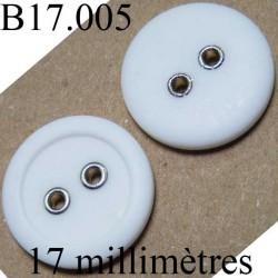 bouton 17 mm couleur blanc 2 trous diamètre 17 mm