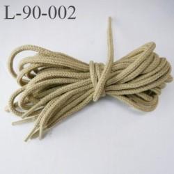 Lacet rond 90 cm couleur crème kaki armée longueur 90 cm largeur 3 mm prix pour une paire