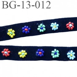 biais galon 13 mm velours noir avec fleurs en perle de couleur largeur 13 mm prix au mètre