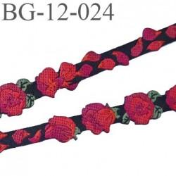 biais galon 12 mm noir et rouge avec motif de la rose dos PVC souple prix au mètre