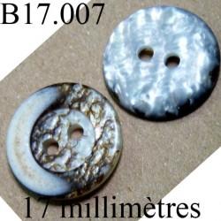 bouton 17 mm  couleur gris et marron marbré brillant  diamètre 17 millimètres
