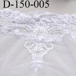dentelle 150 mm synthétique couleur blanc avec perles largeur 150 mm