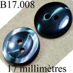 bouton 17 mm  couleur gris  marbré sur une face et noir brillant sur l'autre  diamètre 17 millimètres