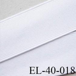 Elastique 40 mm plat très très  belle qualité couleur blanc brillant  forte élasticité style brodé largeur 40 mm prix au mètre