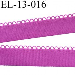 Elastique picot 13 mm bretelle et lingerie doux et forte élasticité couleur pivoine fushia largeur  13 mm  prix au mètre