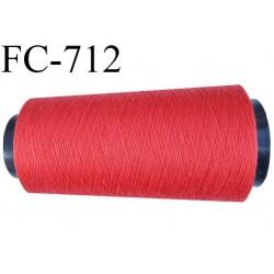 Cone 1000 m de fil mousse  polyester fil n°160 couleur rouge corail longueur  1000 mètres bobiné en France