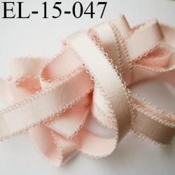 Elastique 15 mm picot  lingerie  couleur rose pétale largeur picot 2.5 mm  prix au mètre