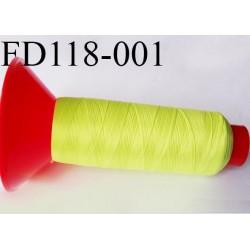 Cone 2500 m fil mousse polyamide n°120 couleur jaune fluo longueur 2500 mètres  bobiné en France