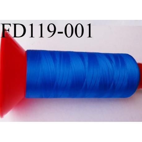 Cone 2500 m fil mousse polyamide n°120 couleur bleu lumineux longueur 2500 mètres  bobiné en France