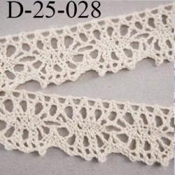 dentelle crochet 23 mm ancienne 100% coton largeur 23 mm couleur écru provient d'une vieille mercerie parisienne prix au mètre