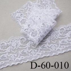 dentelle largeur 60 mm couleur blanc et argent synthétique prix au mètre
