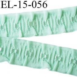 Elastique 16 mm froncé bretelle et lingerie couleur vert aqua  élasticité 40 % dessous très doux largeur 16 mm prix au mètre