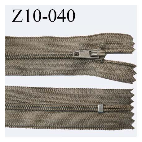 fermeture zip longueur 10 cm couleur marron clair kaki non séparable largeur 2.4 cm glissière nylon largeur  4 mm