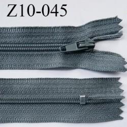 fermeture zip longueur 10 cm couleur gris non séparable largeur 2.4 cm glissière nylon largeur  4 mm