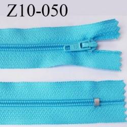 fermeture zip longueur 10 cm turquoise non séparable largeur 2.4 cm glissière nylon largeur  4 mm