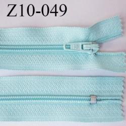 fermeture zip longueur 10 cm vert bleu lagon anthracite non séparable largeur 2.4 cm glissière nylon largeur  4 mm