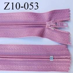 fermeture zip longueur 10 cm vieux rose non séparable largeur 2.4 cm glissière nylon largeur  4 mm