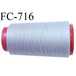 CONE de 2000 mètres  de fil polyester fil n° 30 couleur gris longueur du cône 2000 mètres   bobiné en France