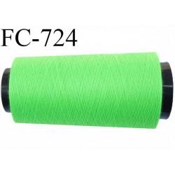 CONE 1000 m de fil polyester fil n° 180 couleur vert fluo longueur de 1000 mètres bobiné en France
