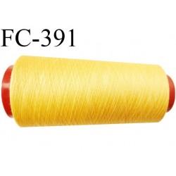Cone de fil polyester fil n°120 couleur jaune longueur du cone 2000 mètres bobiné en France