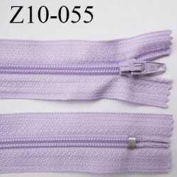 fermeture zip longueur 10 cm lilas non séparable largeur 2.4 cm glissière nylon largeur  4 mm