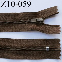 fermeture zip longueur 10 cm marron non séparable largeur 2.4 cm glissière nylon largeur  4 mm