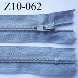 fermeture zip longueur 10 cm gris non séparable largeur 2.4 cm glissière nylon largeur  4 mm
