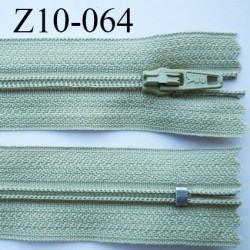 fermeture zip longueur 10 cm vert kaki clair non séparable largeur 2.4 cm glissière nylon largeur  4 mm