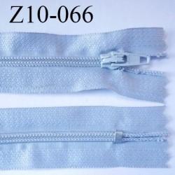 fermeture zip longueur 10 cm gris clair non séparable largeur 2.4 cm glissière nylon largeur  4 mm