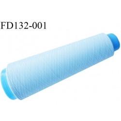 Destockage cone 3000 mètres de fil mousse polyester fil n°120 couleur bleu ciel bobiné en France