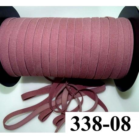 élastique plat largeur 8 mm couleur dusty rose prix pour 1 mètre de longueur