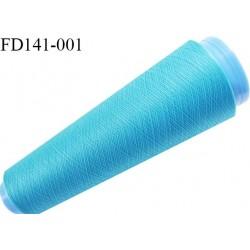 Destockage cone 3000 mètres de fil mousse polyester fil n°120 couleur turquoise longueur 3000 m